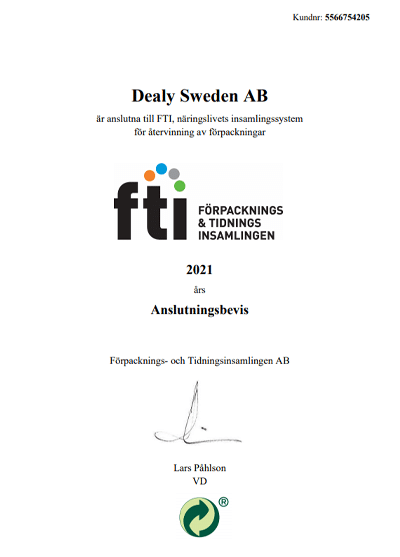 FTI Certificate 2021 - Dealy Sweden AB